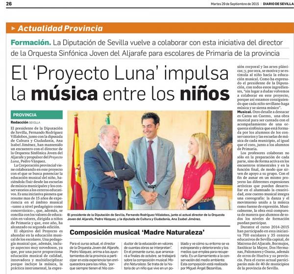 El Proyecto Luna es noticia en Diario de Sevilla